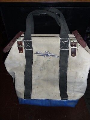 Vintage Estex 2179 Canvas Tool Bag Tote Steel Frame Lineman Electrician Used