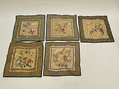 Job Lot 5 Chinese Silk Embroideries Birds, Flowers And Insects