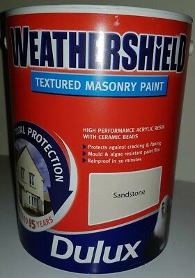 DULUX WEATHERSHIELD TEXTURED Masonry Paint Concrete Grey 5L