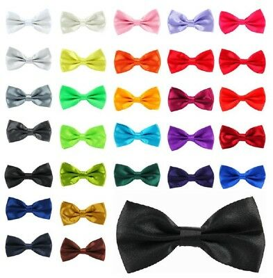 New Metal Fastener Bow tie Pretied 25 Colours Adjustable Satin Prom Weddings UK