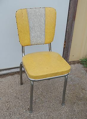 Vintage Retro Kitchen Chair, Gold and White Vinyl Covers with Steel Legs
