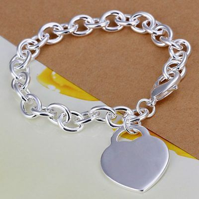 Fashion 925Sterling Solid Silver Jewelry Heart Charms Bracelet For Women H268