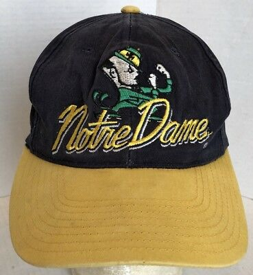 Vintage Notre Dame Fighting Irish Ncaa Snapback Hat Cap Embroidered Logo Blue