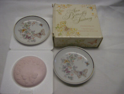 SALE>>Vintage Avon Butterfly Fantasy Porcelain Soap Dishes & Soap w/Box 1979