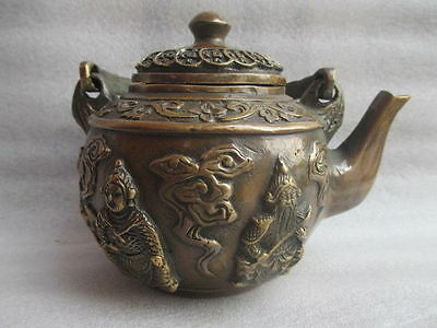 """5.12"""" old China's rare hand-carved bronze star teapot"""
