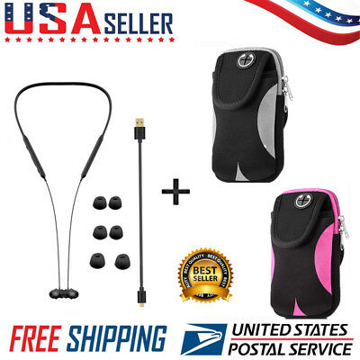 Bluetooth Wireless Sport Stereo Earbuds With Optional Runner Armband Bundle
