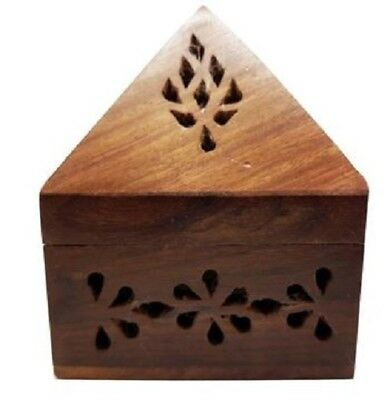 Handmade Wooden Incense Holder Stand Home Decor Fragrance Relaxation - Pyramid