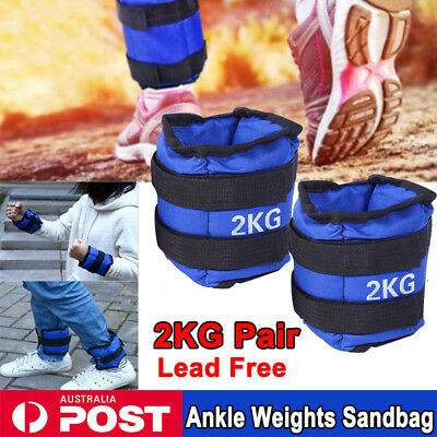 2x 2KG Adjustable Ankle Wrist Fitness Weight Gym Straps Exercise Ankle Weights