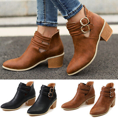 Womens Double-buckle Pointed Toe Ankle Boots Ladies Stacked Heel Pumps Shoes NEW