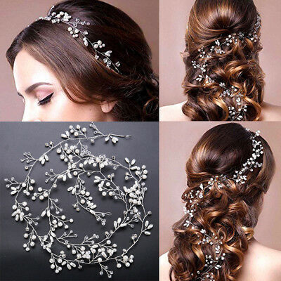 Wedding Headdress Simulated Pearl For Bride Crystal Crown Floral Elegant Hairpin