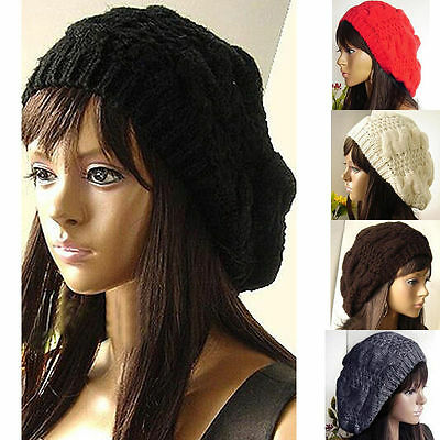 US Sale Women Beret Braided Baggy Knitted Crochet Beanie Hat Ski Winter Warm Cap