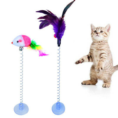 Pet Cat Toys Kitten Rod Sucker With Spring Plush Mouse Feathers Scratch Teaser