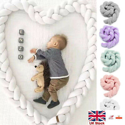 Baby Cot Bumpers Bedding Bumper Knot Design Newborn Crib Pad Protection 2M