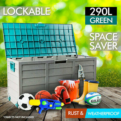 Outdoor Storage Lockable Box Green Weatherproof Garden Deck Toy Shed Organiser