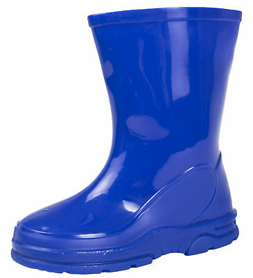 Boys Blue Wellies Mid Calf Wellington Boots Warm Winter Rain Snow Boots Shoes
