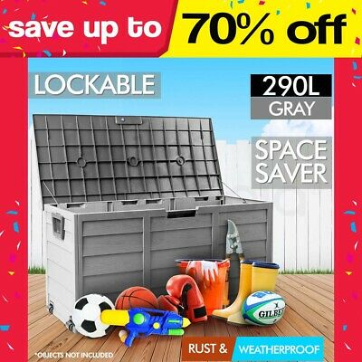 290L Mytopia Outdoor Storage Lockable Box Grey Weatherproof Garden Deck Toy Shed