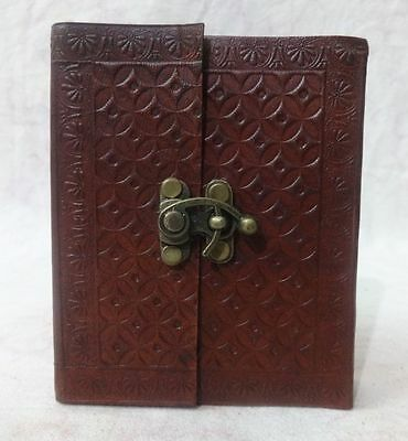 Vintage Leather Handmade Bound Blank Paper Pocket Journal Travel Mini Diary 5x4