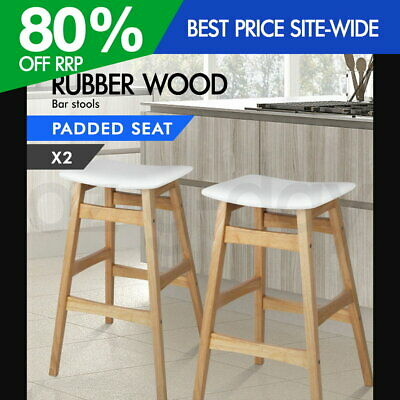 2x Rubber Wood Bar Stool Wooden Barstool Dining Chairs Kitchen Padded White 6028