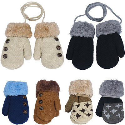 Winter Warm Toddlers Baby Boy Girls Kids Thick Fur Gloves Neck String Mittens