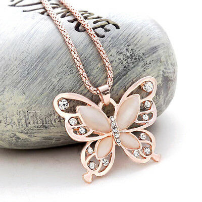 Charm Women Rose Gold Opal Butterfly Charm Pendant Long Chain Necklace Jewelry.