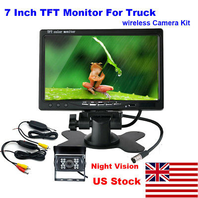 "❤7""LCD Monitor+1x Wireless Rear View Backup Camera Night Vision for RV Truck Bus"