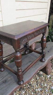 Antique joint stool oak lamp table