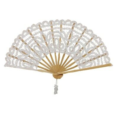 Vintage Lady Handmade Lace Hand Fan Bridal Wedding Party Decoration, White E9Q3