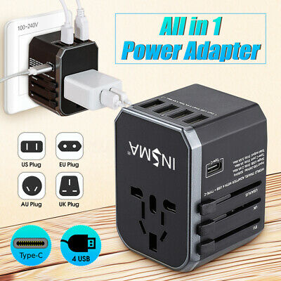 EIVOTOR Universal Worldwide Travel Adapter Wall Charger Type-C + 4 USB Port