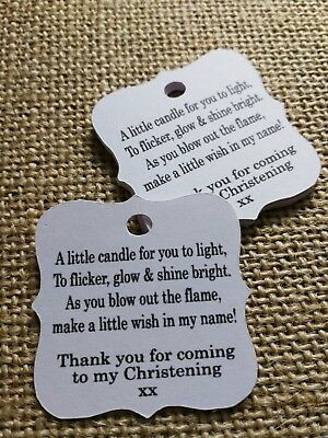 Christening Thank you gift tags Candle Tags 30x