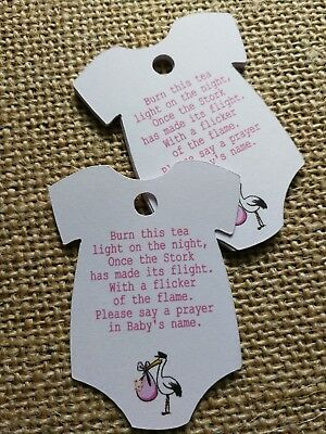 Burn this light on the night. Pink Baby Shower Tags Stork Candle Favour Tags 25X