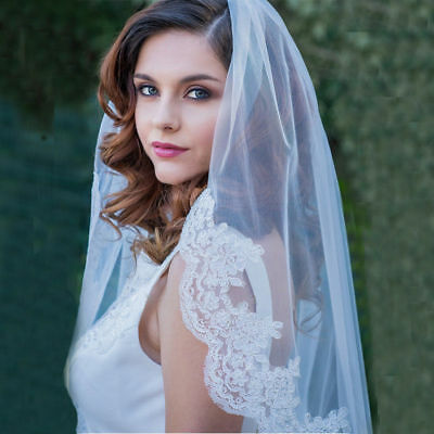 One Layer 80CM Elbow Length With  metal Comb Short Lace Tulle Bridal Wedding Vei