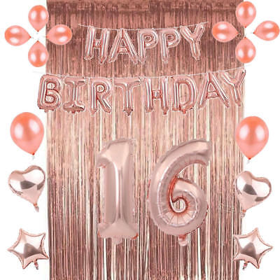 Rose Gold 16/18/21st/30/40/50 Happy Birthday Balloons Latex Number Party Decor '