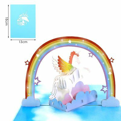 3D Unicorn Pop Up Birthday Cards Laser Cut Post Card For Party Decoration IM