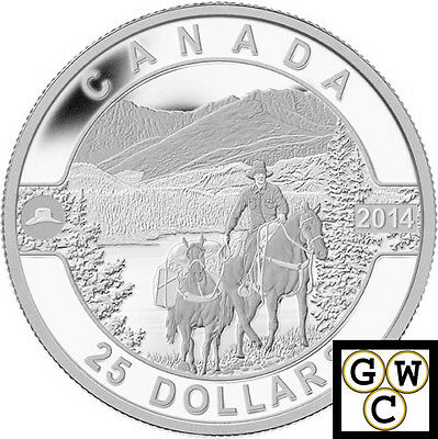 2014 'Cowboy in the Rockies -O Canada' Proof $25 Silver Coin .9999 Fine(13985)NT