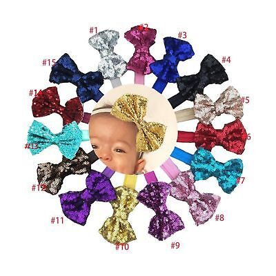 15Pcs Baby Girls Headbands 4'' Big Boutique Bling Sparkly Sequin Hair Bows He...
