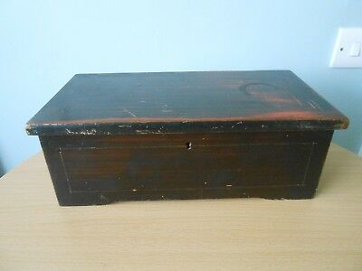 Antique 19Thc Chinese Lacquered Pewter Inlaid Elm Box
