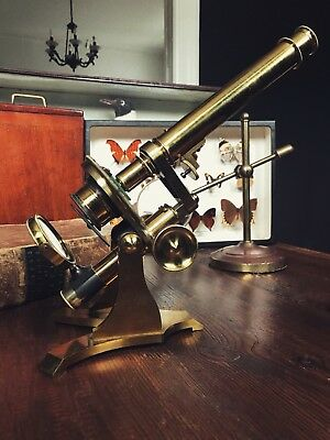 Antique 19th Century Brass Bar-Limb Microscope with Lenses, Slides and Box