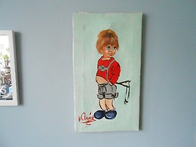 Vintage 1960'S French Signed Oil Painting Of A Boy With Catapult Signed Klyel