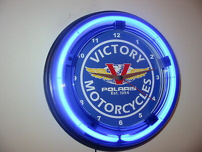*** Victory Motorcycle Garage Man Cave Blue Neon Wall Clock Sign