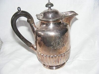 Antique Epns Silver Plated Water Jug Pot Elkington Georgian Style Ribbed Body