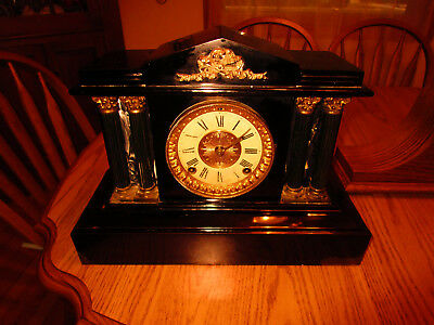 ANSONIA CLOCK CO.cast iron mantle chime clock  gold plated pat.  June 18 1892