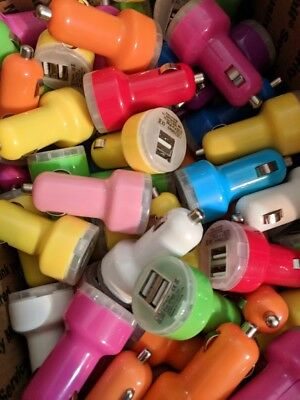 Dual USB Car Charger Multicolor - Lot of 115