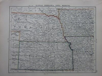1901 Victorian Map United States Kansas Nebraska Iowa Missouri