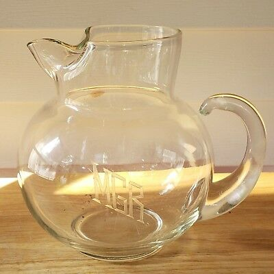 """Vintage Crystal Pitcher With Monogramed Initials """"mgr"""""""