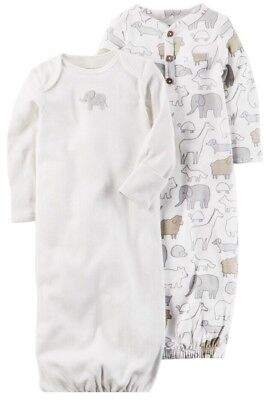 Nwt Carters Baby Unisex  2- Pack Of Gowns Size 3 Months