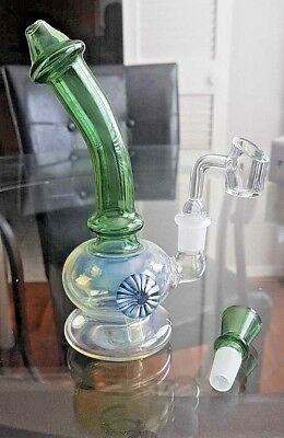 "Collectible Tobacco Glass Water Pipe Banger Bong Hooka 7"" w/ 14mm Banger + Bowl"
