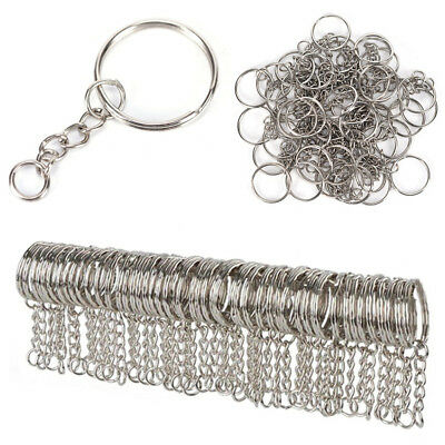 Steel Keyring With Short Chain Split Key Rings Loop Hoop Ring Connector Lot