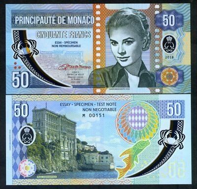 Monaco, 50 Francs, 2018 Private Issue, Clear Window Polymer - Grace Kelly