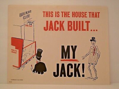 Vtg Harolds Club Casino Reno  House That Jack Built Advertising Sign Print