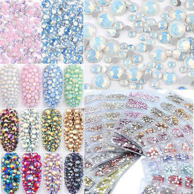 Multi Size Opal Jelly Nail Rhinestones Crystal Glass Gems For UV Gel 3D Nail Art